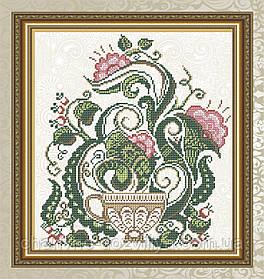 """Схема для вышивки бисером на габардине """"Цветочный чай (чашка)"""""""