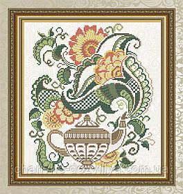"""Схема для вышивки бисером на габардине """"Цветочный чай (чайник)"""""""