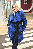 Женское Пальто с отложным воротником и поясом БАТАЛ