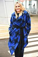 Женское Пальто полоска с поясом БАТАЛ