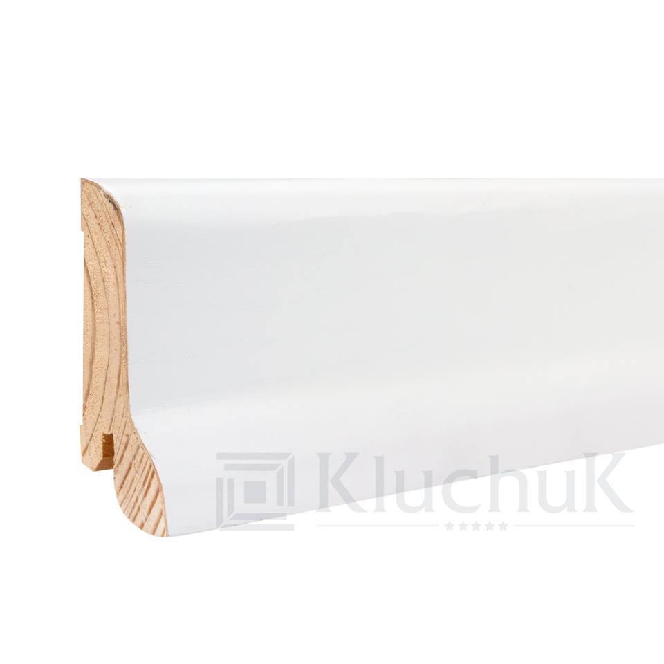Плинтус деревянный белый KluchuK WHITE PLINTH профиль Класика 60*21*2200 мм.