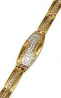 Браслет фирмы Xuping. Цвет: позолота +родий. Камень: белый циркон. Длинна регулируется:20 -25 см,ширина 12 мм.