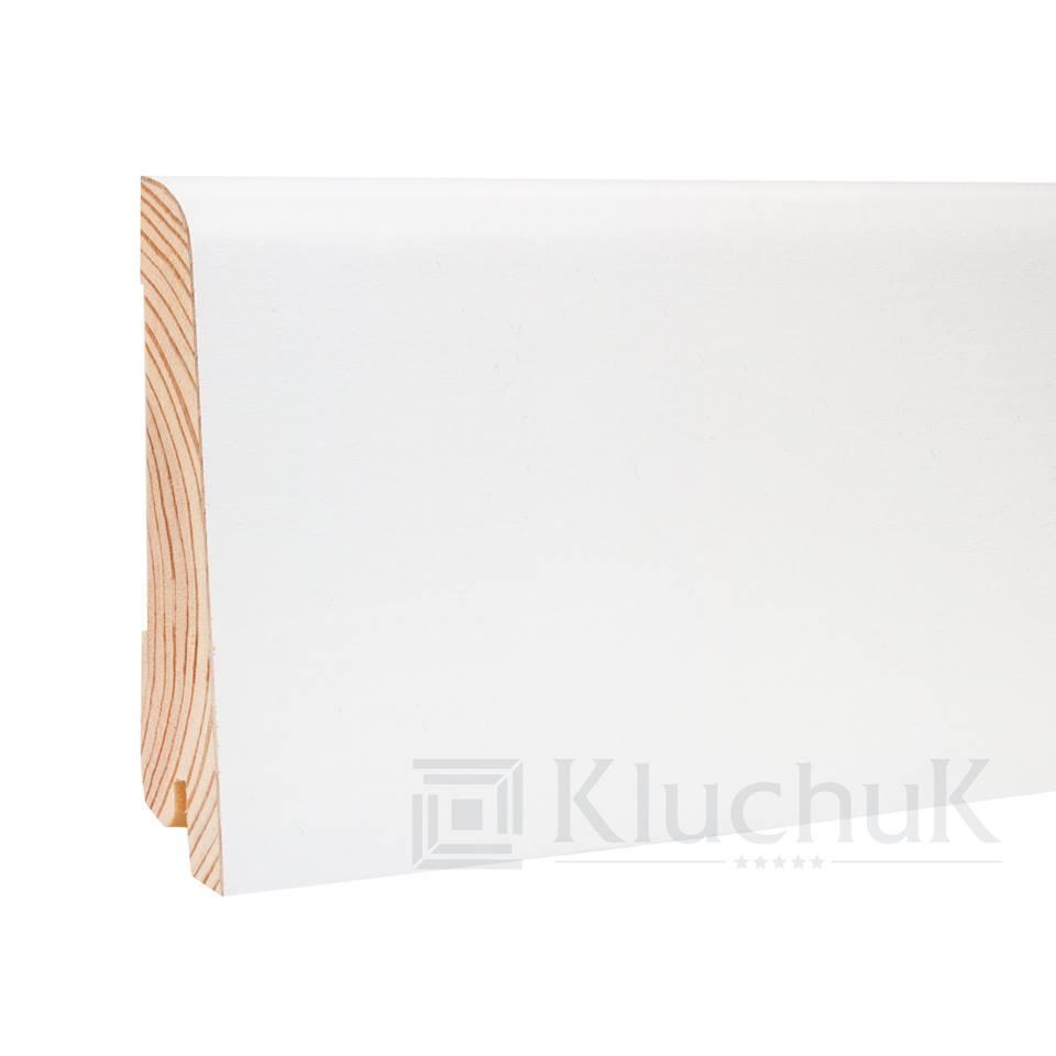 Плинтус деревянный белый KluchuK WHITE PLINTH профиль Евро 80*19*2200