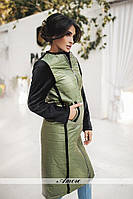 Женское стеганное пальто ниже колена