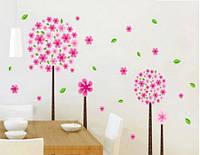 """Наклейка на стену, виниловые наклейки """"Четыре розовых цветка"""" 1м47см (лист45*60)"""