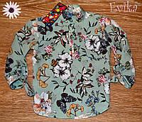 Стильная детская блузка на завязочках Цветочки