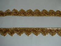 """Золотая тесьма """"треугольник с пайетками""""металлизированная, ширина 3.5см(цена за 1м)"""