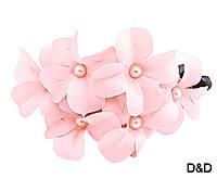 """Заколка-автомат """"Цветы"""" розовая, фото 1"""