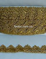 """Золотая тесьма """"треугольник с пайетками""""металлизированная, ширина 3.5см(1 упаковка 18м)"""