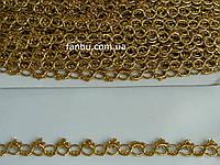 """Золотая тесьма """"фигурные кольца""""металлизированная, ширина 1.3см(1 упаковка 18м)"""