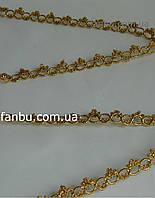 """Золотая тесьма """"фигурные кольца""""металлизированная, ширина 1.3см(цена за 1м)"""