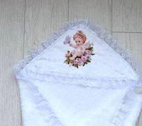 Махровая крыжма для крещения  Ангелочек с уголком в рюшу, фото 1