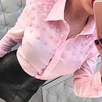 ЖЕНСКАЯ РУБАШКА С ЦВЕТАМИ из бисера (черная, розовая и марсала)