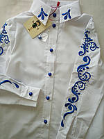 Блуза Suzie Полина школьная нарядная вышивка цвет электрик Размеры 116- 134