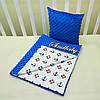 """Набор для коляски плед Minky + подушка,""""Якорек"""", синий"""