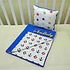"""Набор для коляски плед Minky + подушка,""""Якорек"""", синий, фото 2"""