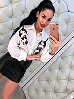 Очень красивые блузки с вышивкой и бусинами (черная и белая)