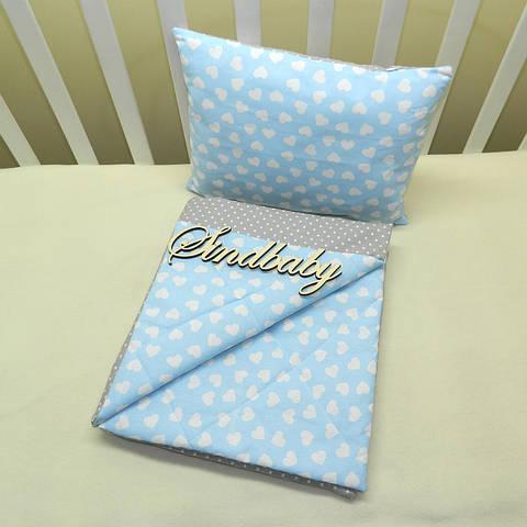 Набор в коляску одеяльце + подушка - 06