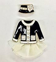 """Комплект из двух брошек Chanel """"Классическое платье со шляпкой"""""""