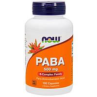 Пара-аминобензоевая кислота, ПАБА, PABA 500mg Now Foods, 100 caps