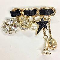 """Брошь Chanel с кожаной вставкой с разнообразными подвесками """"Звезда"""""""
