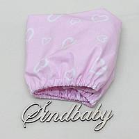 Детская простынь на резинке в кроватку, розовые сердечки 60х120 см