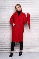 Женское демисезонное пальто 614 (красный)