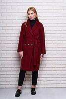Женское демисезонное пальто 614 (бордо)