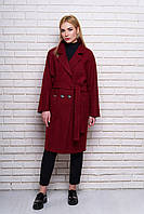 Женское демисезонное пальто 614. Бордовый