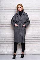 Женское демисезонное пальто 614 (твид серый)
