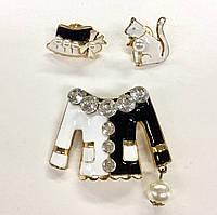 """Комплект из трёх брошек Chanel """"Пиджак со шляпкой и белый кот"""""""