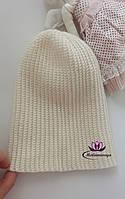 Детская вязаная шапка бини белая