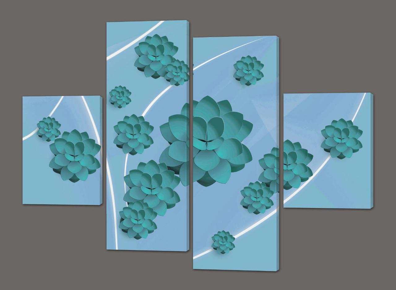 Модульная картина Цветы 126*93 см