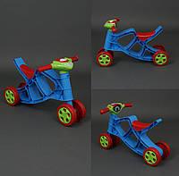 Мини байк музыкальный велобег, бегов, беговел, толокар, мотоцикл, цвет сине-красный с салатовым рулём Фламинго