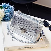 Стильная  женская мини сумка клатч  Dior Diorama лаковая цвет серебро