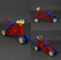 Мини байк музыкальный велобег, толокар, беговел, мотоцикл, цвет красно-синий с жёлтым рулём  Фламинго