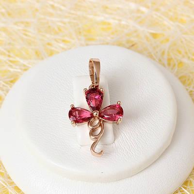 R4-0700 - Кулон с рубиновыми фианитами розовая позолота