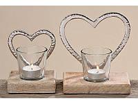 Подсвечник 2х Сердце стекло на деревянной подставке h15 см арт 1538900