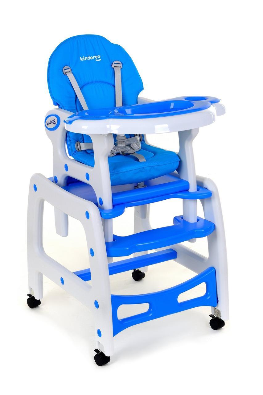 Кресло для кормления KINDEREO 5в1 синие, полозья для качяния, колесики