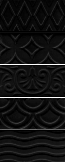 Плитка облицовочная KERAMA MARAZZI 7,4Х15Х6,9 Авеллино Чёрный Структура Mix (16016)