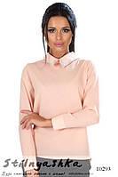Нарядная блузка с украшением на воротнике пудра