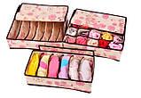 Набор органайзеров из 3х штук для белья с крышкой - Нежные Цветы, фото 3