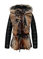 Куртка кожаная с мехом блюфрост короткая с отстегивающимися рукавами