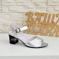 Босоножки кожаные женские на устойчивом каблуке, цвет серебро.