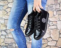 Стильные Слипоны PD на шнурках, цвет - Черный,материал верх-натуральная замша+кожа