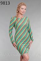 Платье-футляр, из мягкого трикотажа осенних тонов