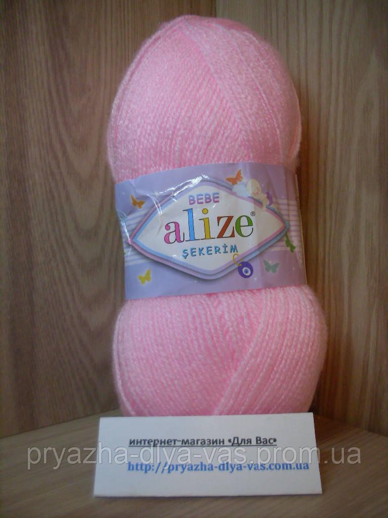 Детская пряжа(100%-акрил,100г/320м) Alize Sekerim bebe 185(светло-розовый)