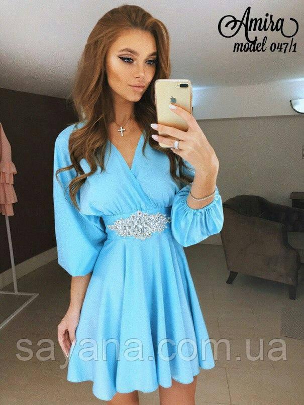 Женское платье с украшением на поясе в расцветках. НО-18-0817