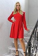 """Приталенное короткое платье """"Эйвис"""" с погонами и длинным рукавом (2 цвета)"""