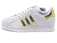 Женские кроссовки Adidas Superstar Mujer White/Gold